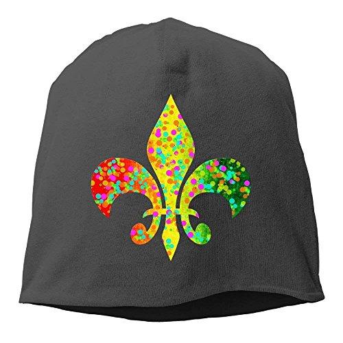 fboylovefor Fleur De Lis Mardi Gras Parade Women/Men Wool Hat Soft Stretch Beanies Skull Cap Unisex Fleur Rim