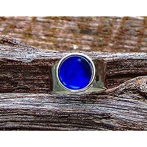 Bottled Up Designs Recycelter Jahrgang Kobalt 1960 Gesicht Creme Jar Glas Gem verstellbarer Ring