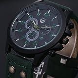 Fenkoo Herren Armbanduhr Quartz Kalender / Wasserdicht Leder Band Schwarz / Braun / Grün / Grau Marke