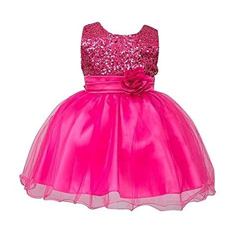 Brightup 0-24 Monate Baby Mädchen Kleider, Rose Red, 0-6 Monate