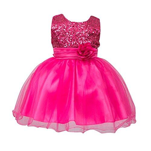 Brightup 0-24 Monate Baby Mädchen Kleider, Rose Red, 0-6 (Mädchen Kostüme Halloween 3 Monate 0 Baby)
