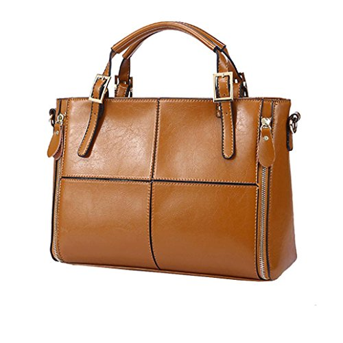 Damen Fashion Casual Leder Handtasche Large Kapazität Klassischer Damen Tote Handtaschen Cross-Body-Umhängetaschen Messenger Bag, Staubbeutel, Solid braun 32cm(L)*12cm(W)*23cm(H) (Bag Handle Tote)