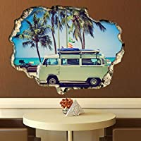 Wallflexi Wall Stickers Camper Van Wall Art Murals Removable Self-Adhesive Decals Nursery Kindergarden Kids Room Restaurant Cafe Hotel Office Home Decoration, multicolour