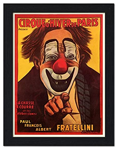 Cirque d'Hiver, French Circus Poster 1930 - Framed Print 32x42cm Black