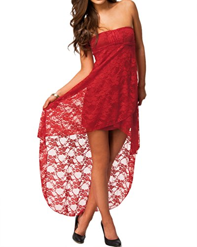 E-Girl Rot Lace vom Bandeau Abend Kleid.,Rot Rot