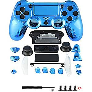 Canamite® Case Hülle Gehäuse Chrome Modding Cover Shell für Playstation PS4 DualShock 4 Controller (Blau)