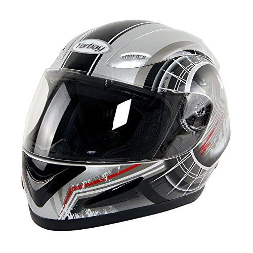 Yorbay Motorradhelm Integralhelm Sturzhelm Helm mit verschienden Typen & in unterschiedlichen Größen (Silber, XL)
