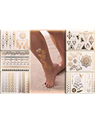 Flash Tattoo Beauty Box Eure Lieblinge   Armbänder Fußketten Dreiecke Fingertattoos Traumfänger Vogel Tattooblumen Feder   Eine Set von Klebetattoos mit 6 Sheets und 70 Gold und Metallic Motive   Original POSH Tattoo®