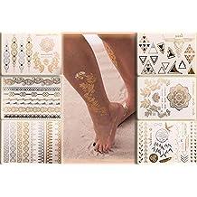 Flash Tattoo Beauty Box Eure Lieblinge | Armbänder Fußketten Dreiecke Fingertattoos Traumfänger Vogel Tattooblumen Feder | Eine Set von Klebetattoos mit 6 Sheets und 70 Gold und Metallic Motive | Original POSH Tattoo®