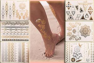 Flash Tattoo Beauty Box Eure Lieblinge | Armbänder Fußketten Dreiecke Fingertattoos Traumfänger Vogel Tattooblumen Feder | Eine Set von Klebetattoos mit 6 Sheets und 70 Gold und Metallic Motive | Original POSH Tattoo®