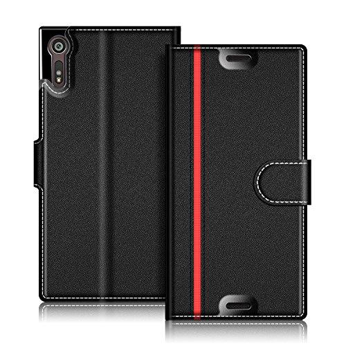 COODIO Sony Xperia XZs Hülle Leder Lederhülle Ledertasche Wallet Handyhülle Tasche Schutzhülle mit Magnetverschluss/Kartenfächer für Sony Xperia XZs und Xperia XZ, Schwarz/Rot
