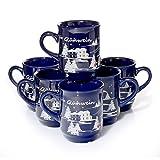 36 x Glühweintassen blau Glühwein-Keramikbecher geeicht 0,2l Weihnachtsmarktassen 200ml