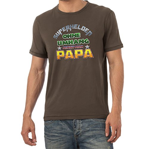 TEXLAB - Superhelden ohne Umhang nennt man Papa - Herren T-Shirt Braun