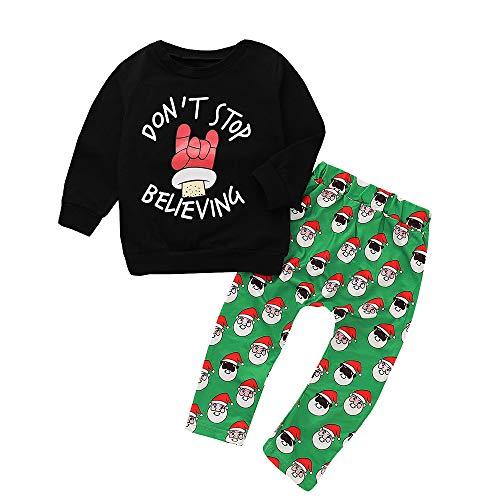 Hawkimin_Babybekleidung Hawkimin Winter Baby Jungen Mädchen Weihnachten Langarm Brief Print Tops +Hose Outfit Set