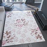 VIMODA Teppich sehr Edel und Modern 3D Effekt und Lurex Blumen Muster Rosa Beige Creme Braun Maße: 120x170 cm