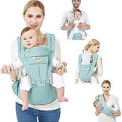 Viedouce Portabebe Ergonómico con Asiento/Puro algodón Ligero y Transpirable/Multiposición:Dorsal, Ventral, Ajustable para Recién Nacidos y Niños Pequeños de 0 a 4 Años (3.5 a 20 Kg)