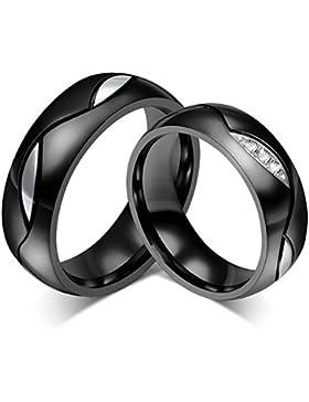 Daesar 6mm Schwarz Paar Ringe 1 Paar Hochzeit Ringe 6mm für Damen Herren & mit Gratis Gravur