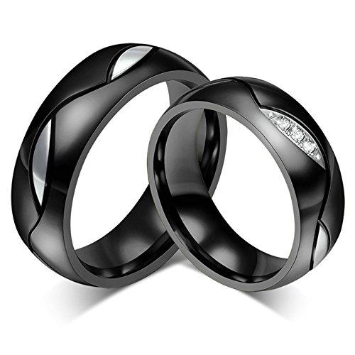 Amody 1 Paar Edelstahl Paar Trauringe für Sie und Ihn Versprechen Engagement Bands Schwarz 6MM polierter Zirkonia Ringe Frauen 57 (18.1) & Männer 49 (15.6) (Batman Paare Ringe Für)