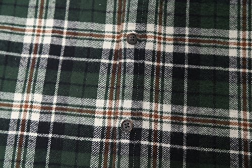 SOOPO Herren Ärmellose Kariert Flanell Hemden Freizeithemd aus Baumwolle Sleeveless T-Shirt beige&grün