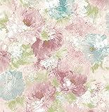 bloomingwall 1142Vintage elegantes Blumenmuster Tapeten für Wände Wand Papier Rolle Wand Wandbild für Wohnzimmer Küche, 52,8x 1.000cm/violett/rot/blau/grün