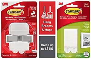 Command Medium Picture Hanging Strip, Holds 5.4 kg, No Drilling, Holds Strong, No Wall Damage (White & Broom Gripper, Holds 1.8 kg, No Drilling, Holds Strong, No Wall Damage (1 Hook, 2 Strips) Combo