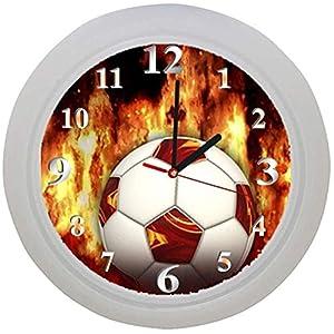 ✿ Kinderwanduhr in 4 Farben ✿ FUSSBALL football FUßBALL 6 Verein ✿ Wanduhr ✿ Kinderuhr ✿ KEIN TICKEN ✿ mit/ohne Name