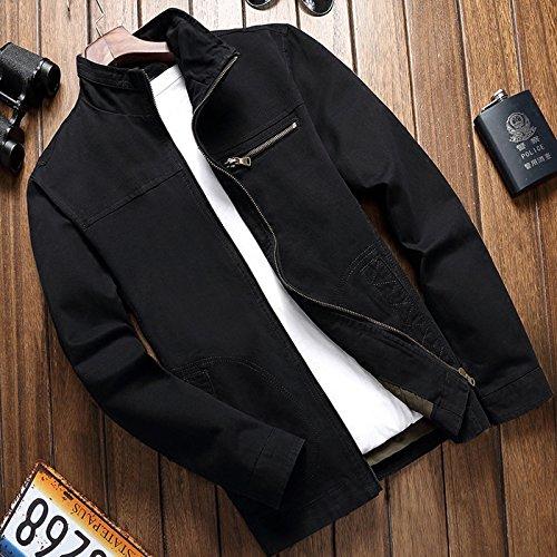 THWS Uomo giacche rientrano il cotone camicia slim Nero