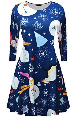 hnachten Swing Kleid Santa Schneemann Rentier Schneeflocken Print Navelty Geschenk Skaer Top Kleid Größen: 8-26 (52-54, Blue Snowman Christmas Dress) (Blue Santa Kleid)