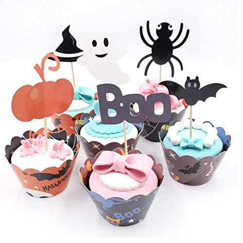 Hoocozi 48pcs Halloween Party Supplies Cupcake Toppers Wrapper für Kuchen Dekorationen, Kürbis, Spinne, Geist, Hut, Fledermaus und mehr