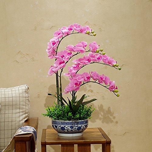 Jnseaol Kunstblumen Künstliche Blumen Phalaenopsis Hotel Hochzeit Dekoration Blau Und Weiß Porzellan Topf Diy Urlaub Geschenk Rosa-02