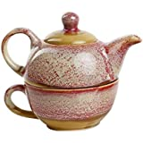 Caffeine Ceramic Handmade Crackled 2 in 1 Tea Pot with Cup - Pink