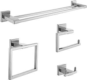 KOJOX 4-Piece Bathroom Hardware Set SUS 304 Stainless Steel Toilet Paper Holder Towel Bar with Long Robe Hook Towel Ring Holder Wall Mount, RUSTPROOF Brushed Nickel