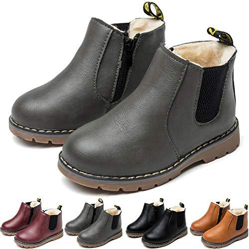 BAOLESEM Stiefeletten Mädchen Winter Warme Jungen Stiefel Weiche Leder Schneeschuhe Outdoor Boots für Kinder,B-Gefüttert grau,eu27