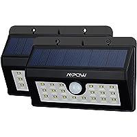 Mpow Lampara Solar 20 LED Impermeable con Sensor de Movimento, 1500mAh Foco Solar para Jardín Casa Camino Escaleras Pared, Iluminación de Exterior y Seguridad 2 Unidades