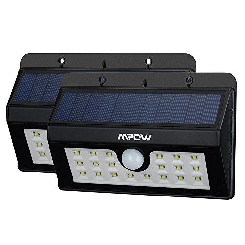 Lampara Solar 20 LED Impermeable con Sensor de Movimento, Mpow 1500mAh Foco...