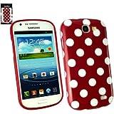Emartbuy® Samsung Galaxy Express I8730 Tupfen Gel Skin Cover / Case Rot / Weiß