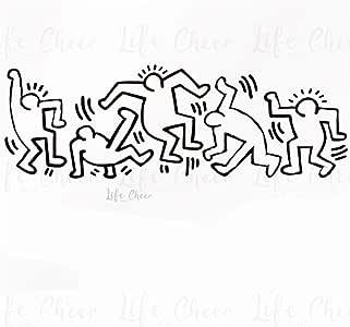 Adesivi Murali Keith Haring.Cooldeerydm Adesivi Murali In Vinile Stile Graffiti Adesivo Murale Stile Keith Haring Artista Design Wall Art Applique Decorazione Soggiorno Casa Amazon It Fai Da Te