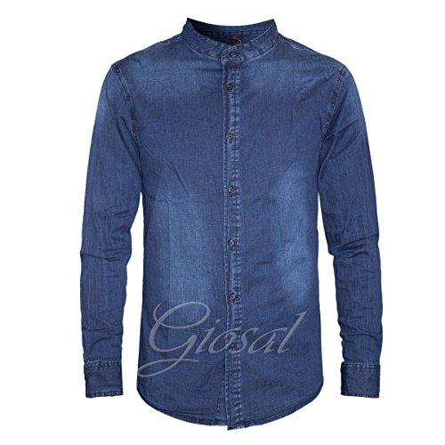 Camicia uomo denim jeans collo coreano bottoni manica lunga casual giosal c1227a-xxl