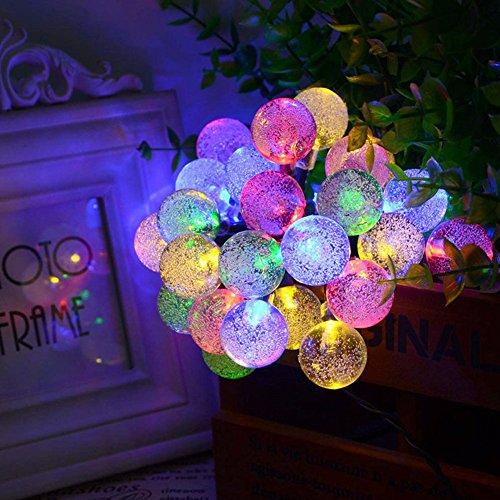 Cadena de Luz LED con Energía Solar WEINAS® Luces Solares de La Secuencia 30 Bolas de Cristal 6M Luces Decorativas Exterior / Interior Impermeable para Hogar, Fiestas, Boda, Arbóles Navidad, Jardín, Patio, Terraza y al Aire Libre (Multicolor)