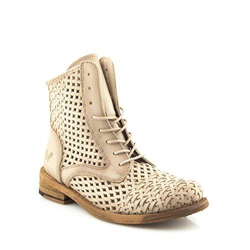 Felmini - Damen Schuhe - Verlieben Gredo 9622 - Stiefel mit Schnürung - Echte Leder - Beige Beige