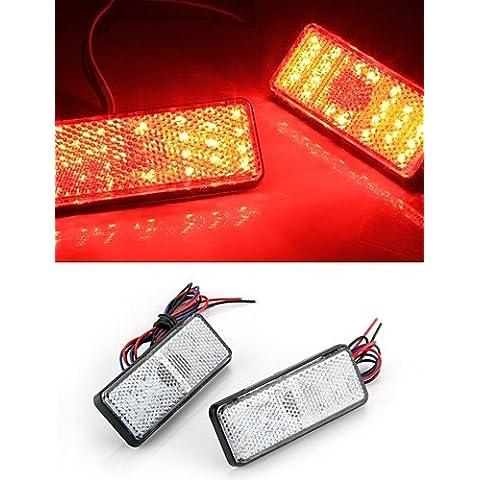 2x vehículo auto del coche del freno cuadrado rojo de la cola parada luz trasera bombilla de la lámpara de alta potencia