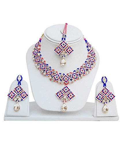 Jewels Guru Exclusive Pink Blue White Necklace Set With Maang tikka.  available at amazon for Rs.798