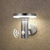 NBHANYUAN Lighting® LED Solar Wandbeleuchtung mit Bewegungsmelder PIR Outdoor Edelstahl Solarleuchten/Wandlampe für Garten 3 Modi für Vielfältige Nachfrage 4000K Warmweiß Licht IP44 (Silber, Stil 1)