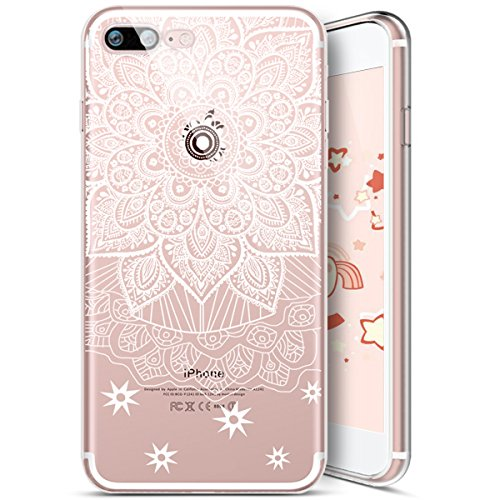 Coque iPhone 8 Plus,Coque iPhone 7 Plus,Ukayfe [Liquid Crystal] Coque en Silicone Souple TPU Housse Etui de Protection avec Absorption de Choc et Anti-Scratch Silicone Transparent Coque [Mandala Motif Mandala#1