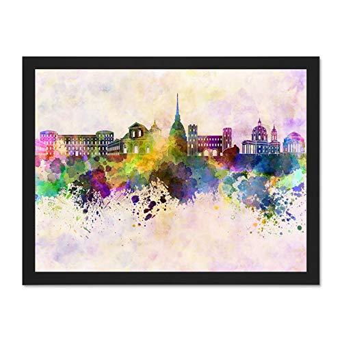 be06647f330d Doppelganger33 LTD Painting Cityscape Paint Splash Skyline Turin Art Large  Framed Art Print Poster Wall Decor