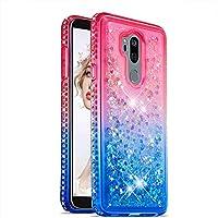 Flüssigkeit Hülle für LG G7/G7 ThinQ,Glitzer Handyhülle für LG G7/G7 ThinQ,Moiky Luxus Lustige Kreative Rosa Blau 3D Liebe Herz Crystal Schwebend Stoßdämpfend Diamant Handyhülle