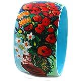 Bracciale dipinto a mano – Vaso con papaveri ed altri fiori di campo di Van Gogh - Bracciale da donna, Gioiello in legno dipinto a mano, Made in Italy, Bijoux da donna decorato, Braccialetto femminile, Lavorazione Artigianale