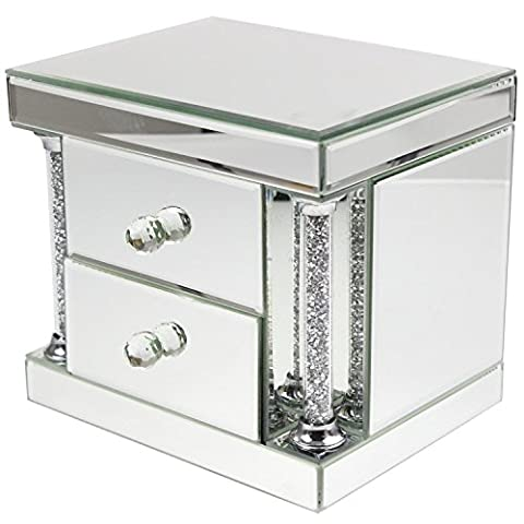 Luxurious Mirrored Glass Jewellery Box with Shimmering Crushed Crystal Effect Pillars and Two Soft Velvet Lined Drawers - Store your Jewellery in Style! A Stunning Addition to any Dressing Table