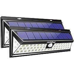 [2 Pack 54 LED] Mpow Lampe Solaire Extérieur Etanche IP65 1188 Lumens Eclairage Exterieur 270 ° Grand Angle Détecteur de Mouvement Paneau Solaire pour Jardin, Cour, Garage,Escaliers, Clôture