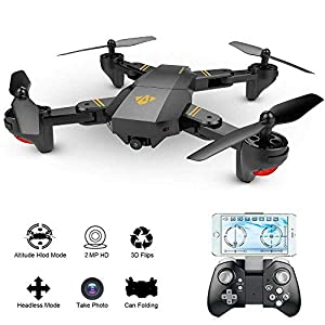 Hotbird Drone with Camera, WIFI FPV Quadcopter with 3D VR Live Video Camera Foldable Drones Kids 2MP Wide Angle Camera Headless Altitude Hold Mode Mobile APP Control